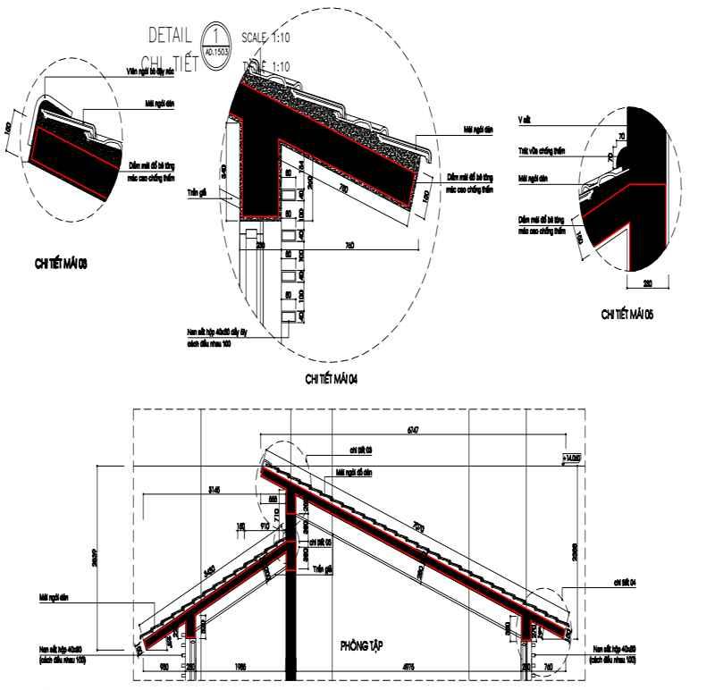 Bản vẽ các chi tiết mái bê tông dán ngói