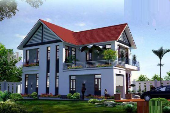 Mẫu thiết kế nhà mái dốc 2 tầng